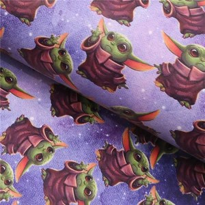 baby yoda inspired printed faux leather sheet
