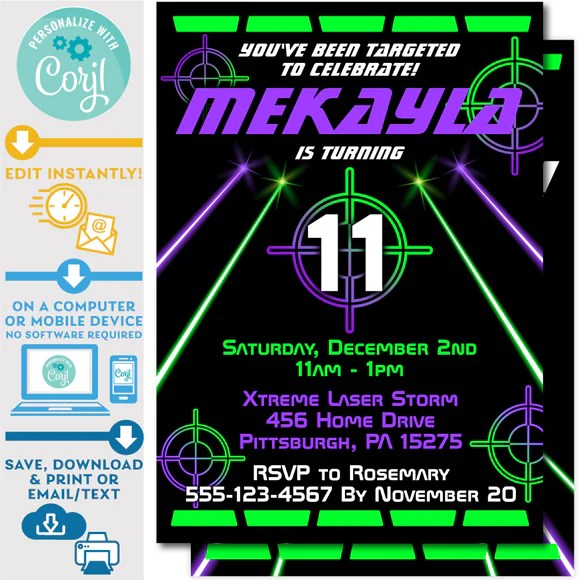 laser tag party printables invite central