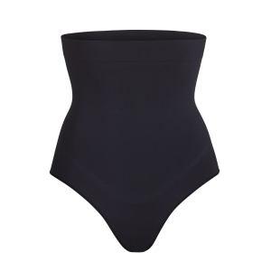 SKIMS High Waisted Bonded Thong Shapewear - Black - Size XXS