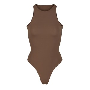 SKIMS Fits Everybody High Neck Bodysuit - Brown - Size XXS
