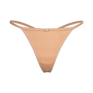 SKIMS Pointelle Logo T String Thong Panties - Nude - Size 4XL