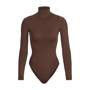 SKIMS Essential Mock Neck Long Sleeve Bodysuit - Brown - Size 4XL/5XL