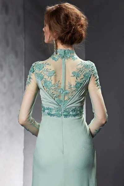 Modest Sage Green Lace Long Sleeves Formal Prom Evening