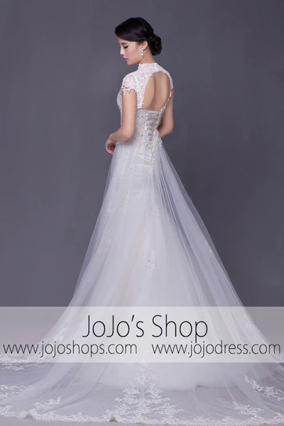 Modest Keyhole A Line Cap Sleeves Lace Overlay Wedding