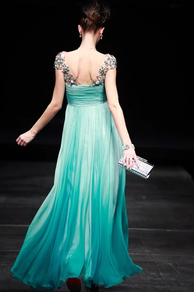 Regency Style Green Cap Sleeves Prom Pageant Evening Gown