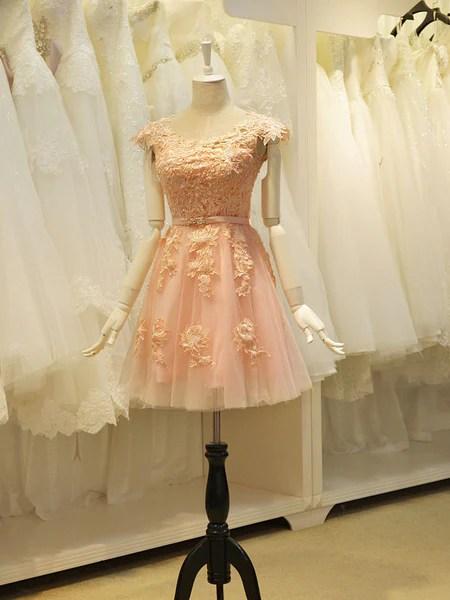 Blush Pink Lace Sweet Sixteen Semi Formal Prom Dress JoJo Shop