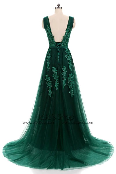 Forest Green Lace Formal Prom Evening Dress With Open Back JoJo Shop