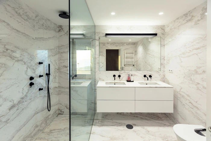 marble shower walls types finishes