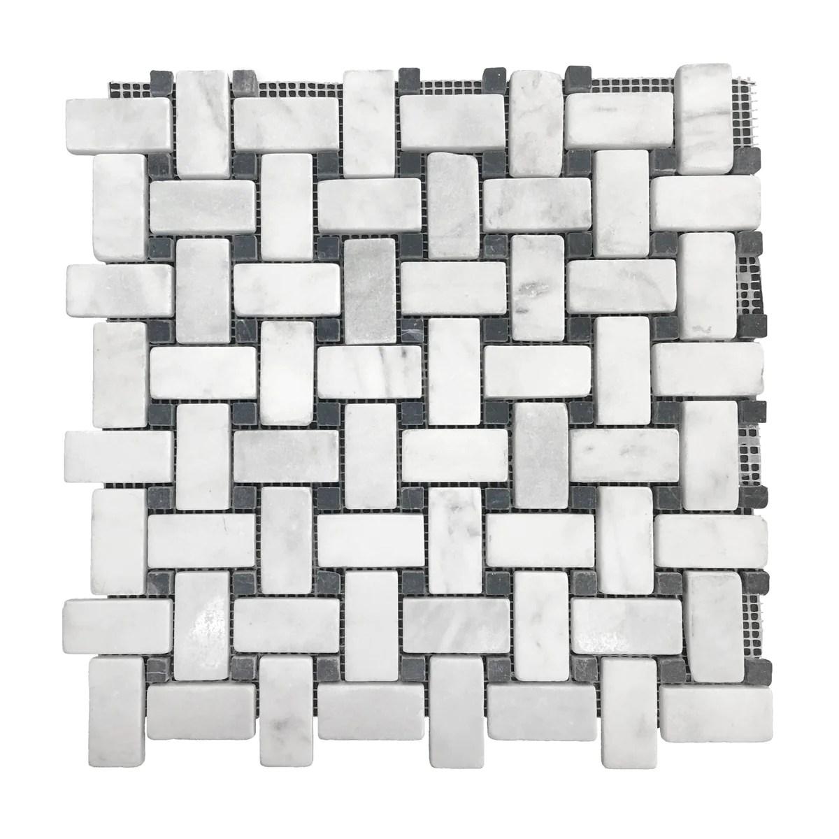 marble fantasy white basket weave mosaic tiles