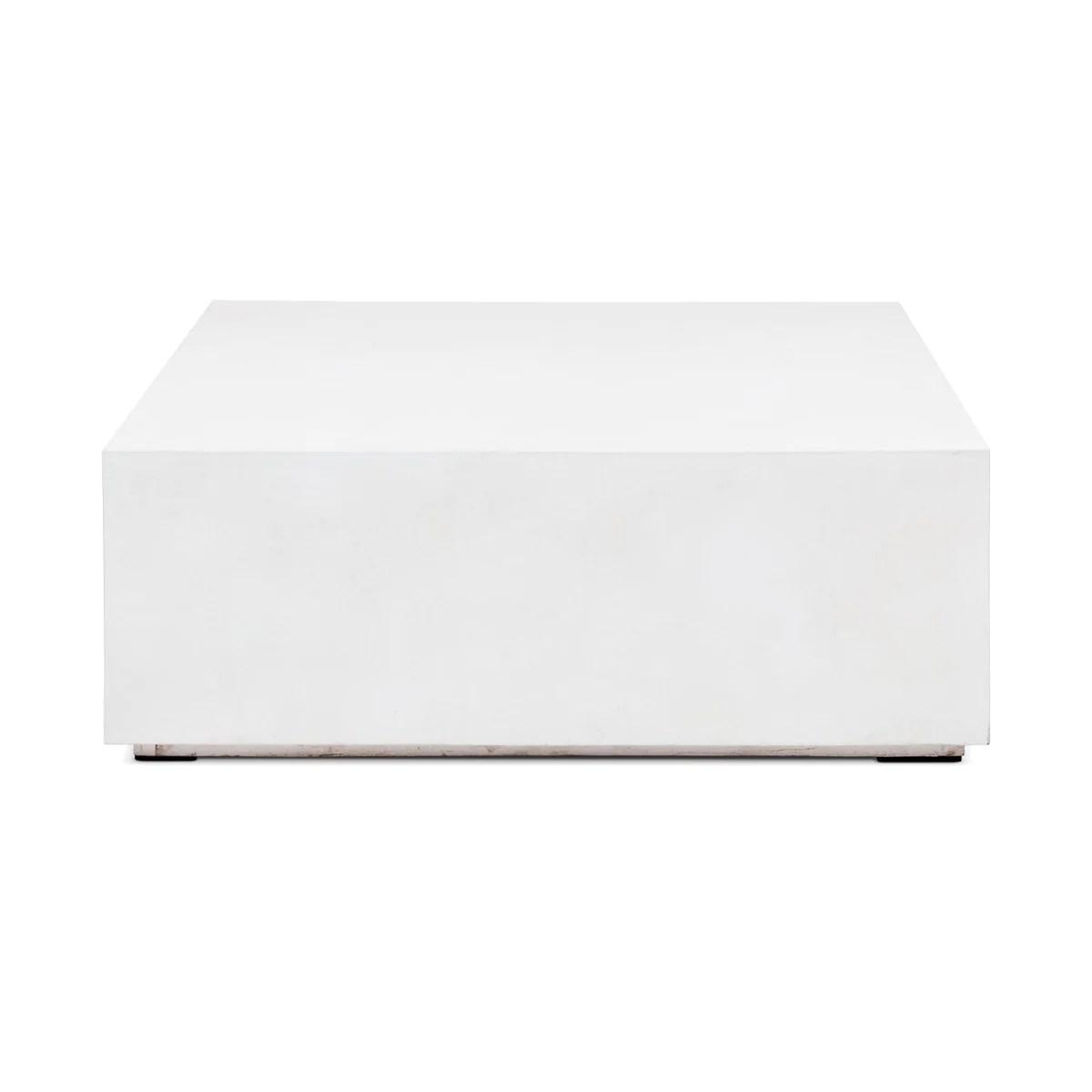 ivory white concrete square block coffee table