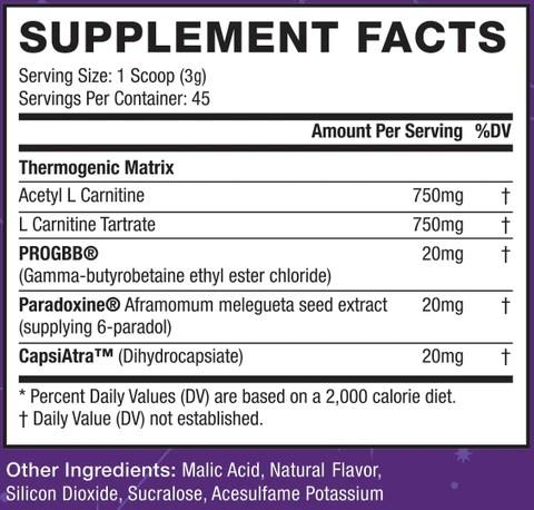 AstroFlav Drip Supplement Facts Fat Burner