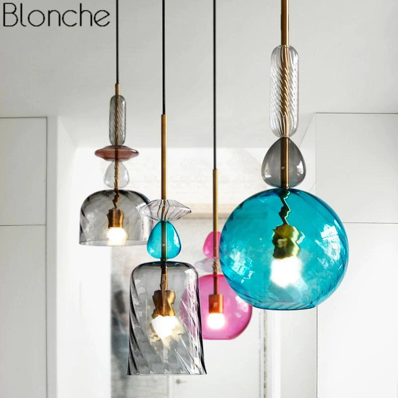 Sospensione metallo paralume vetro colorato lampadario rustico e27 ambiente. Vendita Online Lampadario Moderno In Vetro Colorato Cosewow