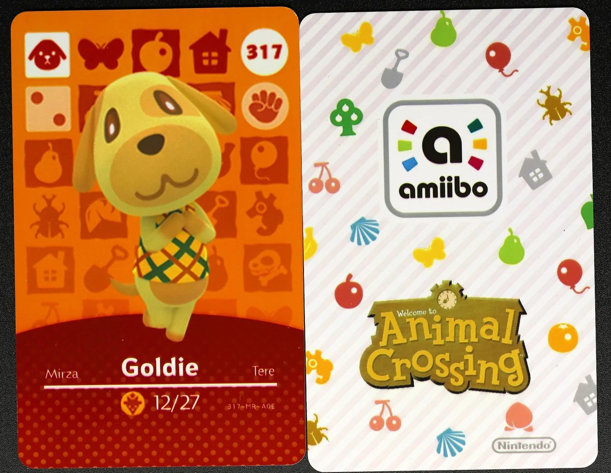 Tap the card to invite the depicted villager to your town! Goldie #317 Animal Crossing Amiibo Card - Villager Cards