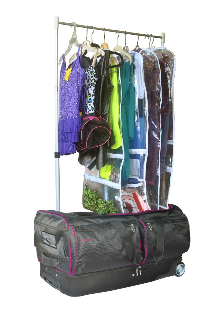 28in wheeled duffel with garment rack and drop bottom pink