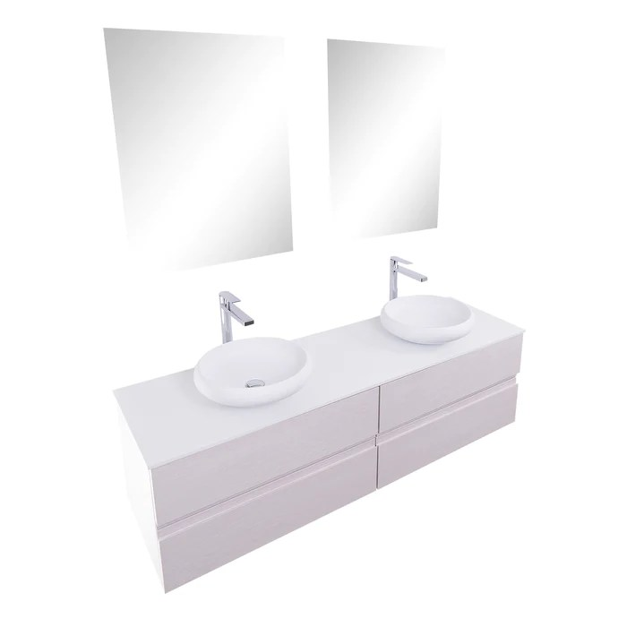 aquamoon contessa 63 double sink 1153 white wall mounted modern bathro bath trends usa