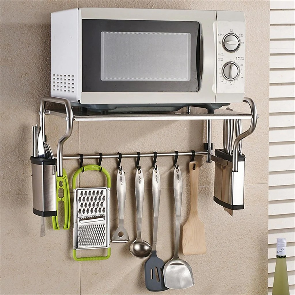 Stainless Steel Microwave Oven Bracket Wall Mounted Kitchen Rack Light Sale Ones