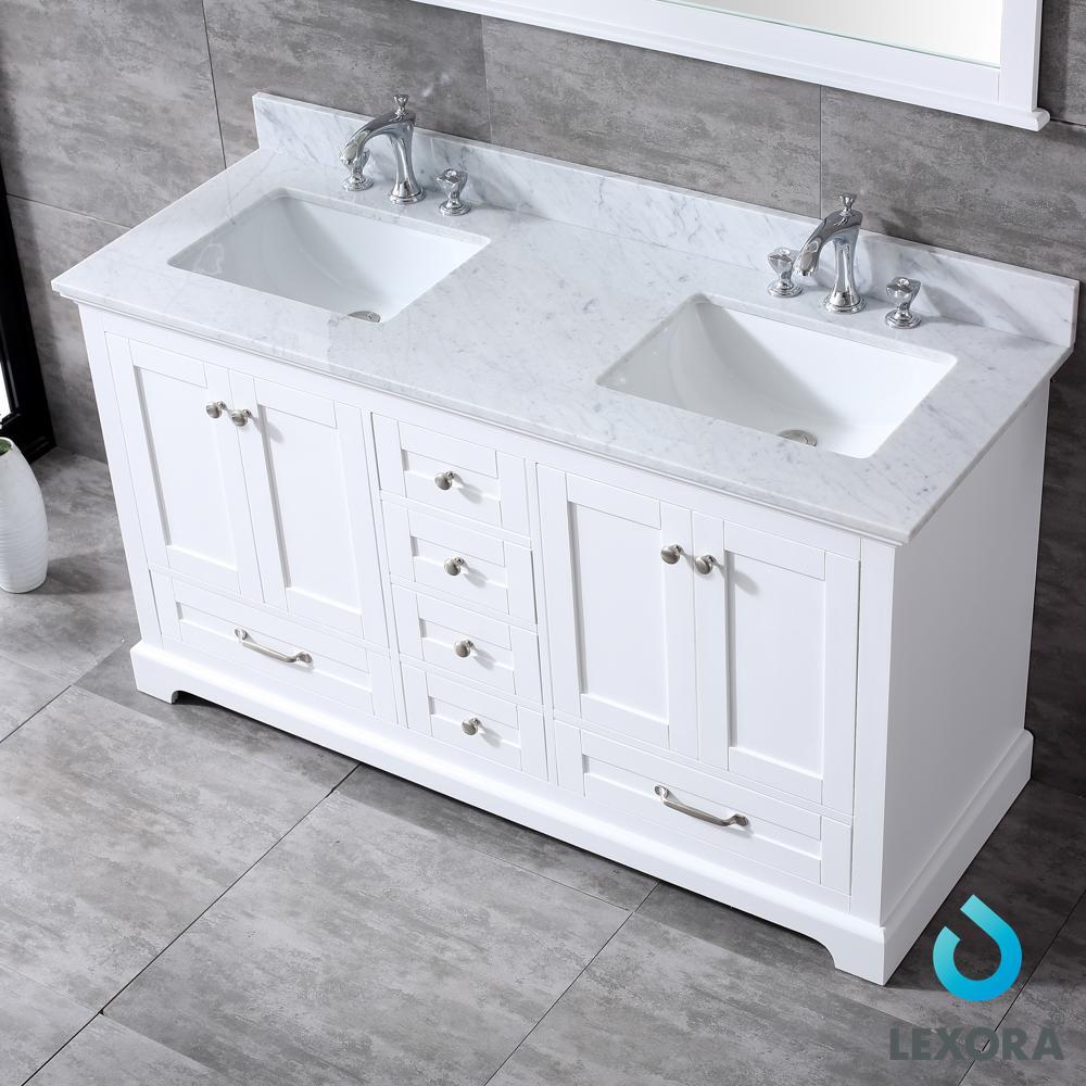 lexora dukes 60 navy blue double vanity white carrara marble top white square sinks and 58 mirror