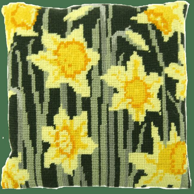 needlepoint pillow kit daffodils