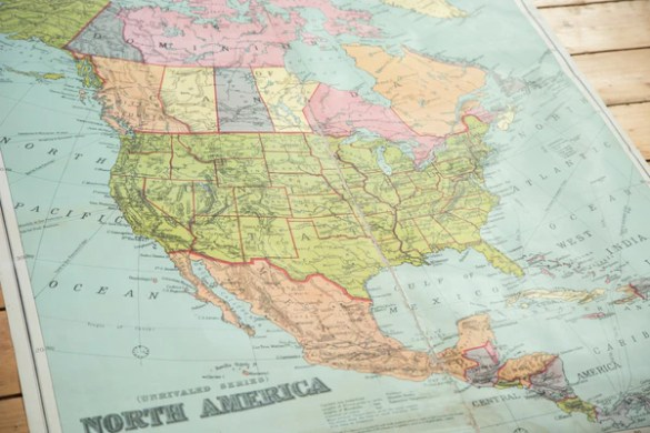 Antique W   AK Johnston Pull Down Map of North America
