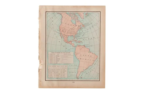 Antique and Vintage Wall Art   Maps Cram s 1907 Map of Americas