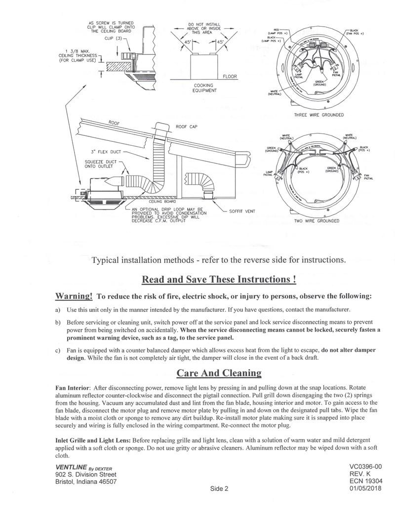 ventline 75 cfm side exhaust bath fan w light
