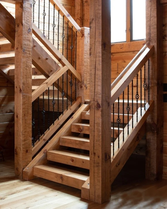 Log Timber Stairs – Log Home Mart | Square Handrail For Stairs | Balustrade | Outdoor | Hand Rail | Low Cost | Residential