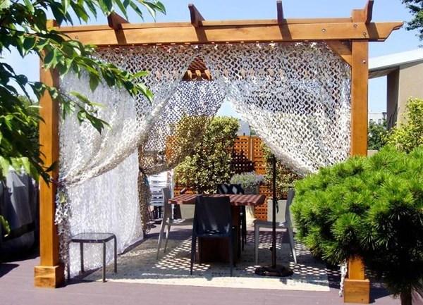 rideau filet de camouflage blanc