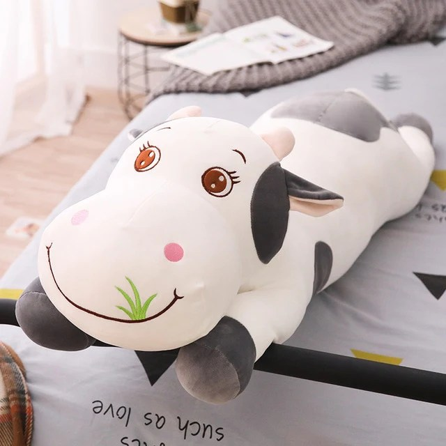 cute full size cow soft stuffed plush pillow toy