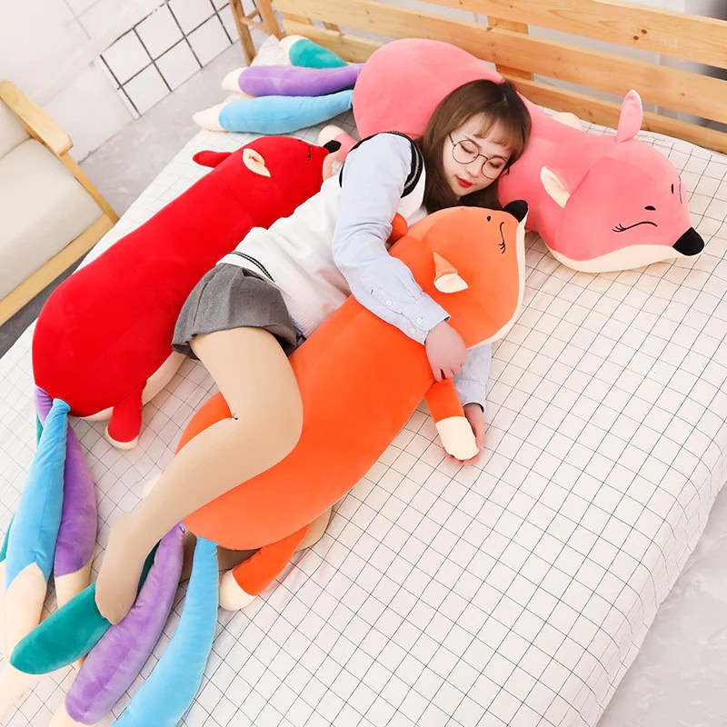 large fox soft stuffed plush body pillow toy