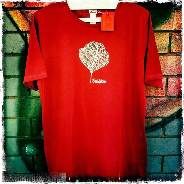 Bimblebox | men's short sleeve, red & charcoal/navy