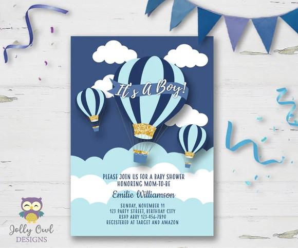 hot air balloon themed baby shower invitation