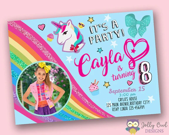 jojo siwa birthday party invitation