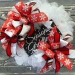Season S Greetings Deco Mesh Wreath Trendy Tree