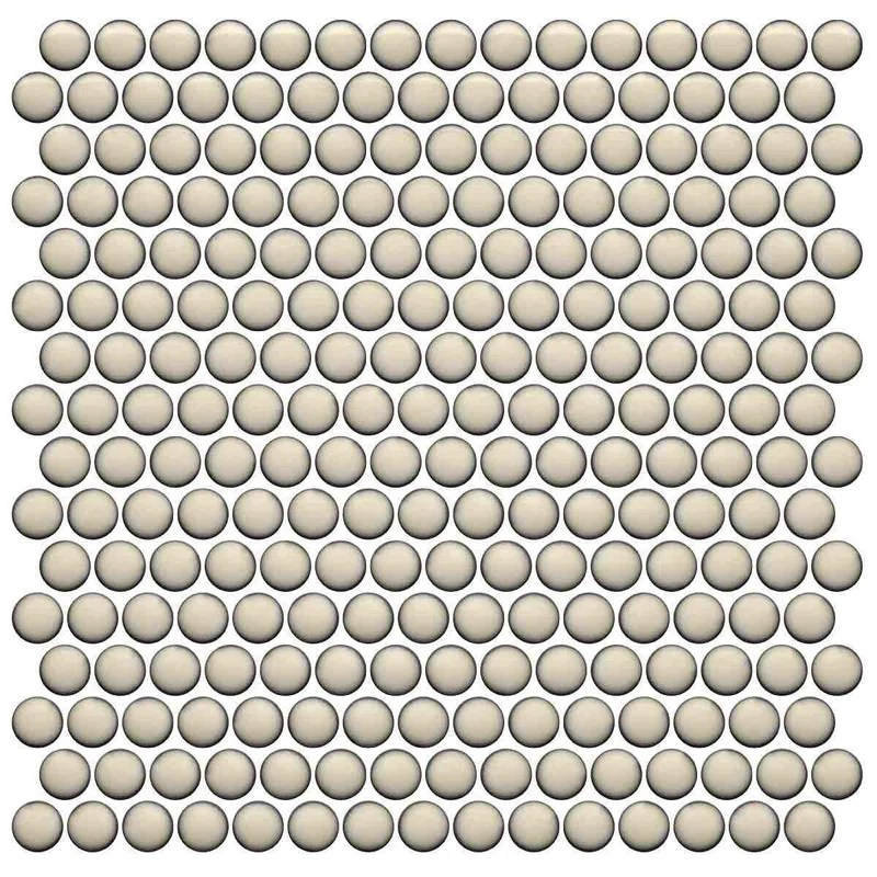 penny round tile vintage cream