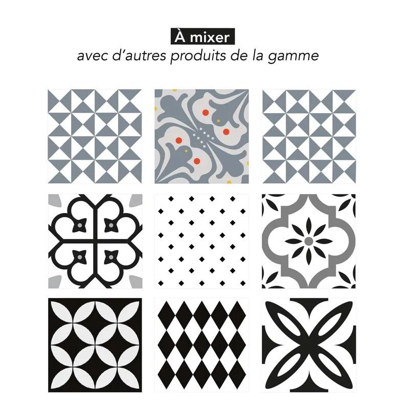 stickers carrelage 15x15 cm fleur geometrique noir et blanc