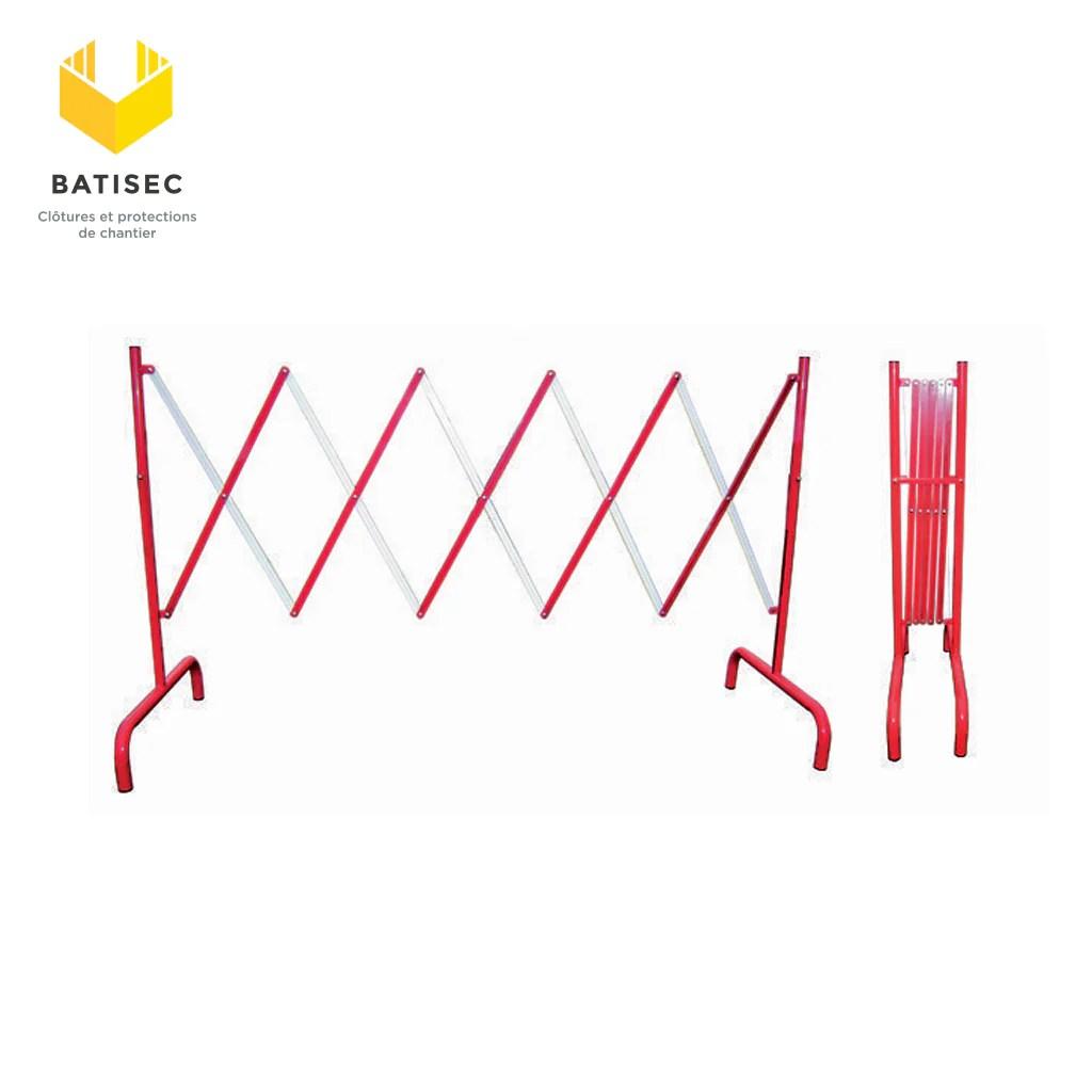 barriere extensible acier rouge et