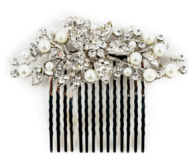 silver bridal hair comb slide clip annie *now 30% off* - the bridal outlet
