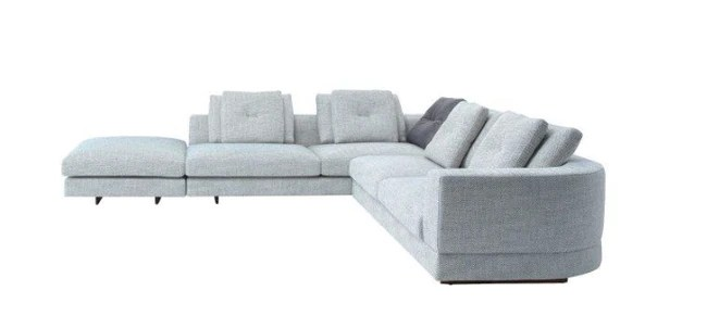 cite na sectional sofa left right facing fabric cream tweed w 126 x118 d 41 5 h 32
