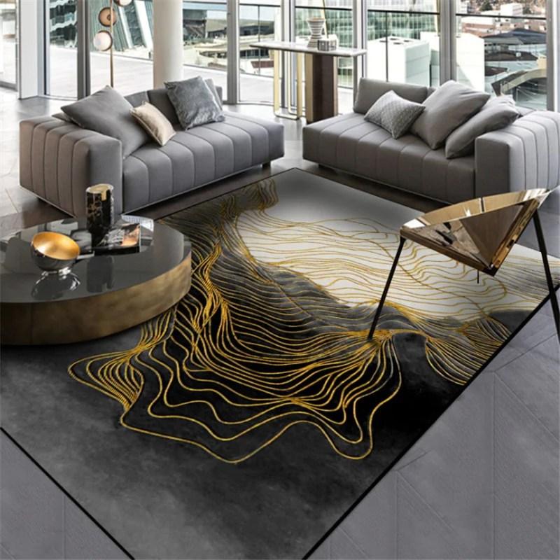 tapis moderne noir et blanc motifs vague jaune moutarde