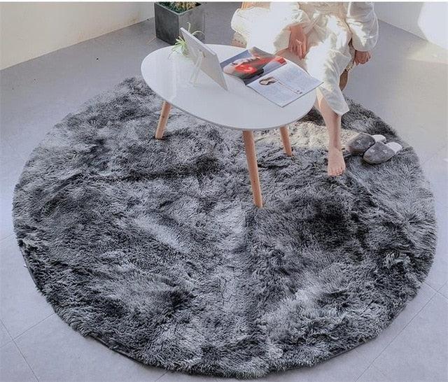 tapis shaggy rond gris fonce ultra doux