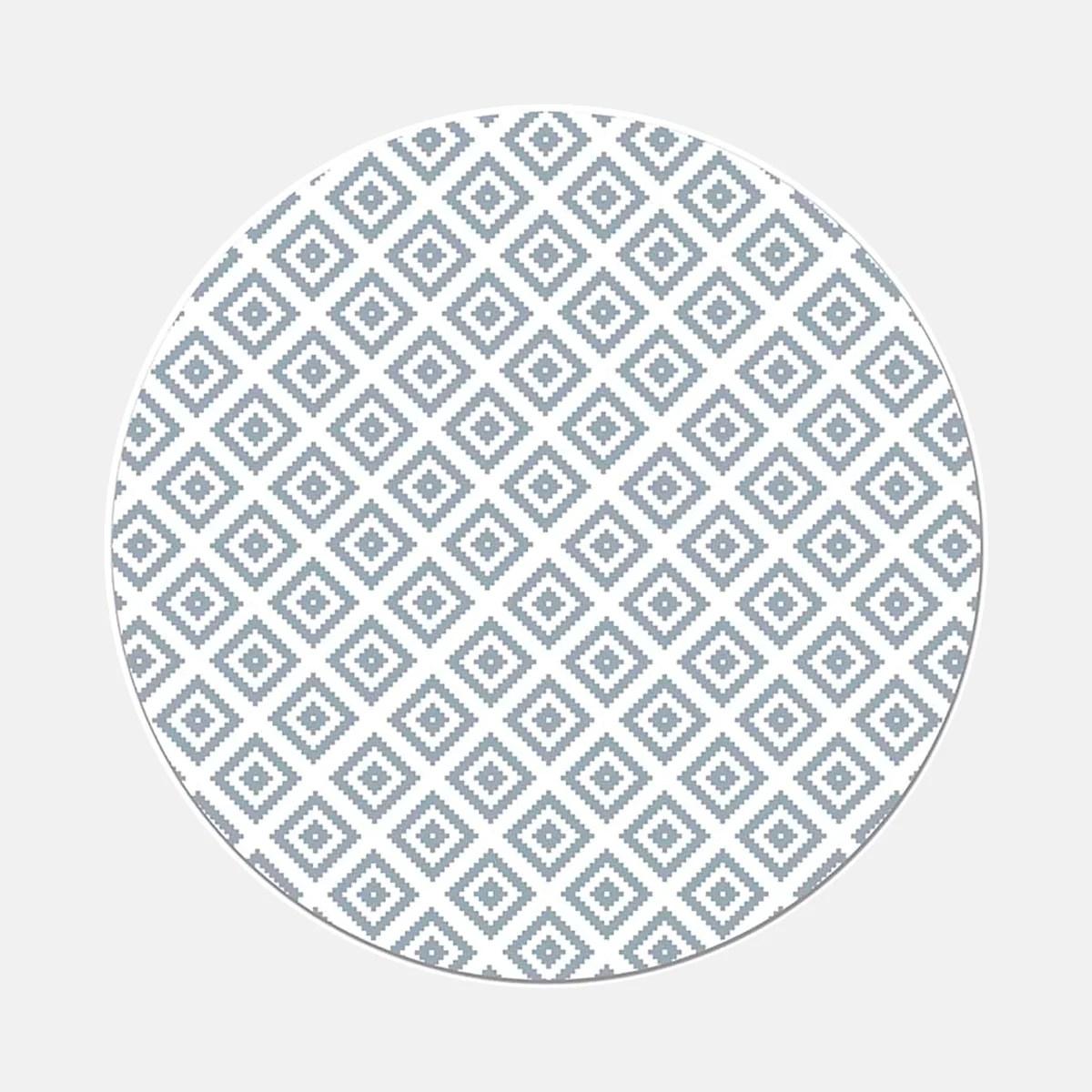 tapis rond en vinyle pvc motif geometrique losange bleu grise ruedutapis