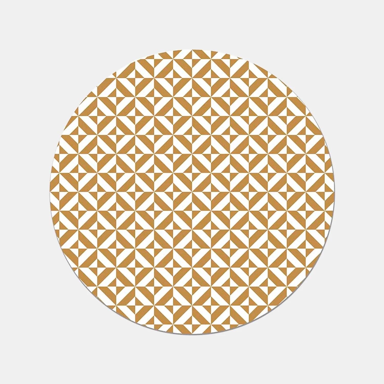tapis rond en vinyle pvc motif geometrique rond jaune moutarde