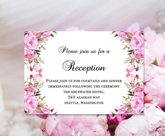 Wedding Reception Invitations Pink Romantic Blossoms DIY