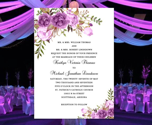 Printable Wedding Invitation Romantic Blossoms Make Your Own DIY Wedding Template Shop