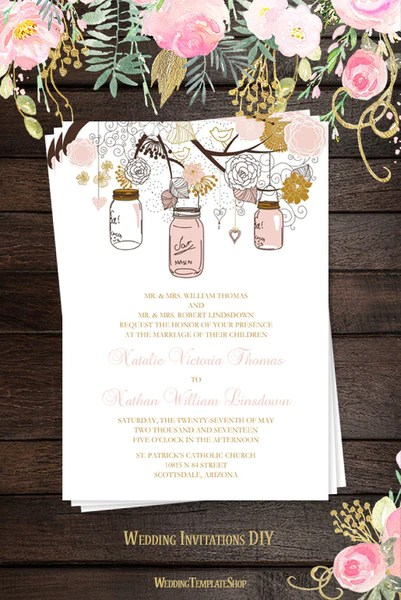 Rustic Mason Jars Wedding Invitation Blush Pink Gold Wedding Template Shop