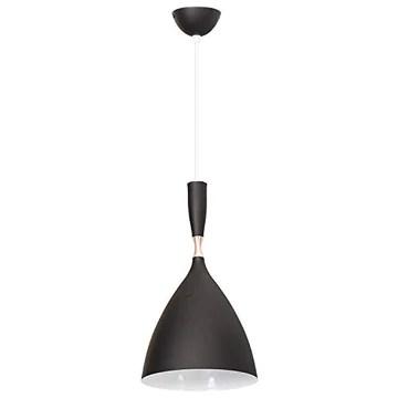 TECNOLUX EURO - Lampe suspendue éclairage moderne Fil Nordic E27 pour Restaurant Chambre Bureau Salle Loft Hall 20 cm de diamètre Couleur noire