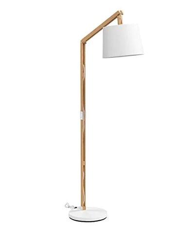 LIGHTBOX LAMPADAIRE MODERNE EN BOIS AVEC ABAT-JOUR EN TEXTILE 1 CULOT E27 MAX.60 W MÉTAL/BOIS/TEXTILE BOIS CLAIR/BLANC