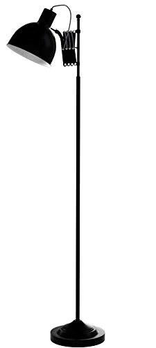 Lampadaire au design rétro avec joint Ciseaux et câble textile, noir mat, pied Interrupteur, hauteur 150 cm, 1 x E27 max. 40 W, métal