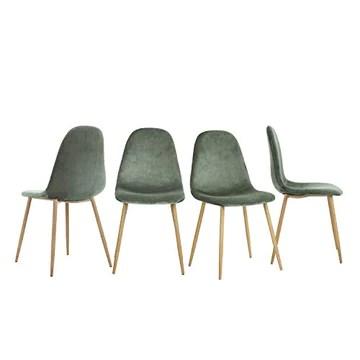 Lot de 4 Chaises de style Scandinave avec une assise et dossier recouverts de velours cactus, des pieds en métal avec finiton imitation chêne clair.
