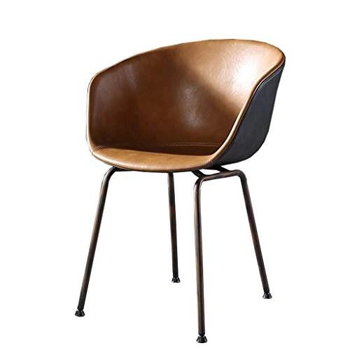 Amrai Chaises de Salle à Manger Chaises d'appoint de café industrielles en Cuir pour Le Cuir Chaises de Club avec accoudoirs en métal - Style rétro, Taille: 46x50x80cm, Noir/Marron